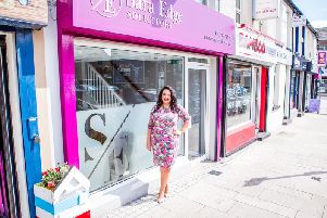 Larne-born Sara Edge outside the newly refurbished Sara Edge Solicitors, 13 Agnew Street
