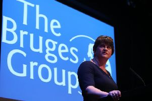 Leader of the Democratic Unionist Party Arlene Foster at a fringe meeting of the eurosceptic Bruges group at the Conservative Party Conference at the Manchester Convention Centre on Monday. Photo: Danny Lawson/PA Wire