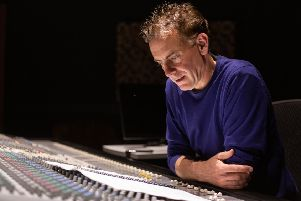 Belfast-born composer Sheridan Tongue, who composed the soundtrack for the series Spotlight On The Troubles: A Secret History, in the studio