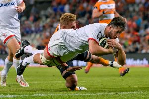 Sam Carter crosses for his first try in Ulster colours during the loss to Cheetahs