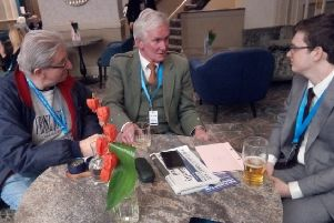 A trio of Scottish Tories chat over a drink at the Midland Hotel as the Conservative conference in Manchester comes to an end. From left, John Dawson, Alistair Campbell and Daniel Grainger
