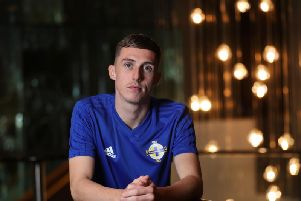 Gavin Whyte at a press conference in Rotterdam ahead of tomorrow night's UEFA Euro 2020 Qualifier.