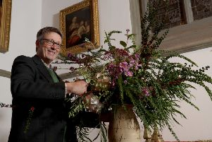 Florist Shane Connolly arranges flowers in the chapel at Clandeboye Estate during his visit to the Aspects 2019 festival.'Photo Laura Davison/Pacemaker Press