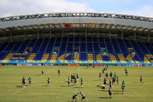 Ireland's squad during the captain's run at Fukuoka Hakatanomori Stadium.