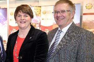 Arlene Foster, the DUP leader, with Ivor Ferguson of the UFU in 2015. Later the UFU stance on the backstop was relentlessly cited by opponents of Brexit and supporters of Irish unity to apply pressure on the DUP