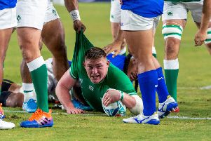 Ireland's Tadhg Furlong scores a try against Samo