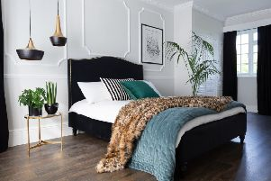 Undated Handout Photo of Soho Black Velvet Bed With Grass Gold Studs, from �995; Leopard Print Fur Throw, �99; Plushious Velvet Teal Bedspread, �360; Boutique 400 Tuxedo Bed Linen Set, Double, �99: Brass & Bronze Drum Pendant Light, �85, The French Bedroom Company. See PA Feature INTERIORS Bedroom. Picture credit should read: The French Bedroom Company/PA. WARNING: This picture must only be used to accompany PA Feature INTERIORS Bedroom. WARNING: This picture must only be used with the full product information as stated above.