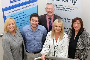 Previous Academy graduates Colin Montgomery and Rachel Gallagher with (left) Sinead Hawkins of North West Regional College, Graeme Wilkinson of DfE and Anne O'Neill of Alchemy. Pic by Lorcan Doherty