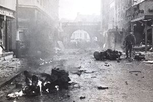 A bomb scene during the Troubles