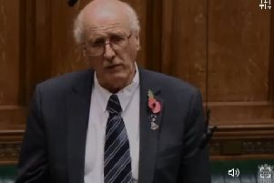 DUP MP Jim Shannon in the Commons. Screengrab of Parliament TV