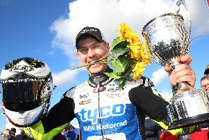 Richard Cooper won the Sunflower Trophy race for the first time at Bishopscourt on Saturday on the Tyco BMW. Picture: Stephen Davison/Pacemaker Press.