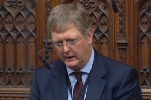 The former NIO advisor Jonathan Caine (Lord Caine) asks a question in the House of Lords, on October 28 2019. Screen grab from Parliament TV