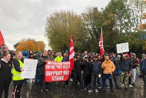 Striking workers stage protest outside ABP Meats in Lurgan