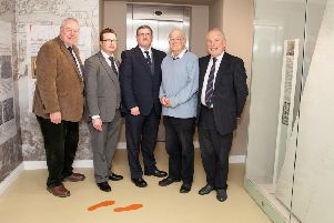 From left, Rev Mervyn Gibson, Orange Order grand secretary, Dr Andrew Charles, Friends of Schomberg House, Jonathan Mattison, museum curator, Sam Wilson, former owner, and Desmond Brownlie, Friends of Schomberg House, at the launch of the tablecloth