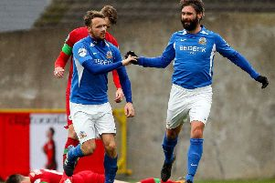 Glenavon player/manager Gary Hamilton (right) with goalscorer Andy Hall on Saturday against Cliftonville. Pic by INPHO.