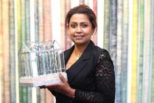 Artist Anushiya Sundaralingam pictured at the opening of her Marankal exhibition at Roe Valley Arts and Cultural Centre
