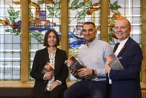 Gladys Ganiel (author), Jamie Yohanis (author) pictured at the launch with the Presbyterian moderator Rev William Henry at Assembly Buildings in Belfast.' Picture By: Arthur Allison/ Pacemaker.