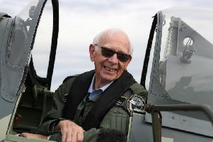 "RAF veteran 85 year-old John Allinson, following a flight in a Spitfire at Solent Airport, who achieved the ""ambition of a lifetime"" by taking a flight in a Spitfire organised as a thank you for his ""selfless"" caring for his wife."