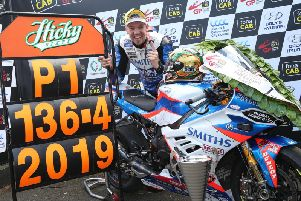 England's Peter Hickman set a new world-record road racing lap of 136.415mph at the Ulster Grand Prix in August, where he won all seven races in an unprecedented feat at Dundrod.