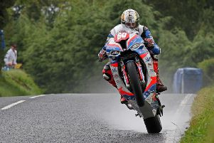 Peter Hickman on his way to victory in the Superstock race at the Ulster Grand Prix in August.