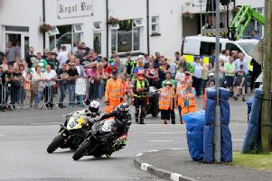 Thomas Maxwell (5) and eventual winner Forest Dunn (88) battle for the lead in the Richard Britton Memorial race at Enniskillen in June.