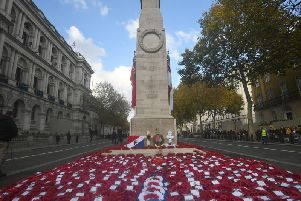 The Cenotaph memorial in Whitehall, central London after the Remembrance Sunday service. (Photo: Victoria Jones/PA Wire)