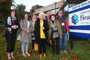 Margaret McGuckin (centre) and other campaigners after their meeting at Castle Buildings