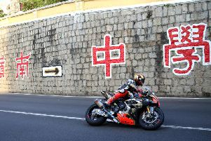 Peter Hickman on the MGM by Bathams BMW at the Macau Grand Prix. Picture: Stephen Davison/Pacemaker.