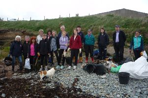 Members of Grass Roots taking part in a beach clean at Ballyhornan in Downpatrick