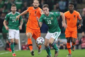Action from Northern Ireland v Holland at the National Stadium at Windsor Park.