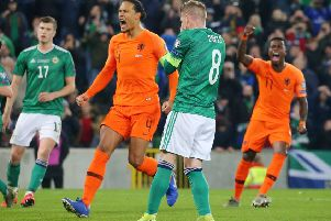 Holland players celebrates following Steven Davis' penalty miss on Saturday for Northern Ireland. Pic by PressEye Ltd.