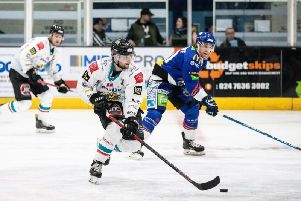Action from Belfast Giants defeat at Coventry Blaze