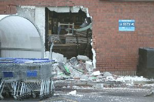The scene of the attempted ATM theft in Ballynahinch