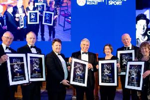 Brian Marshall (collecting Roger Youngs Greatest XV print) Trevor Ringland Queens Greatest XV, Tony Price PWC, Dick Milliken Queens Greatest XV, Justine McGrath (Jack Kyles daughter collecting her fathers Greatest XV print); Phil Matthews Queens Greatest XV, Moria McMuarry (Henry OHara ONeills daughter collecting her fathers Greatest XV print)