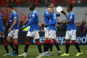 Rangers' celebrates Ryan Kent scoring his side's third goal during the Ladbrokes Scottish Premiership match at the Fountain of Youth Stadium. Photo: Jane Barlow/PA Wire.