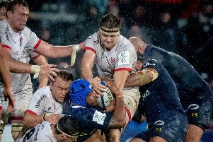 Iain Henderson helping Ulster home against Clermont. Pic by INPHO.
