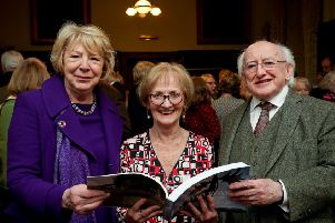 Author Ann Lane at book launch with President of Ireland Michael D. Higgins and his wife Sabina.