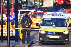Armed police at the scene of an incident on London Bridge in central London. PA Photo. Picture date: Friday November 29, 2019.