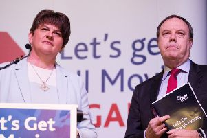 DUP leader Arlene Foster with deputy leader Nigel Dodds at the party's election manifesto launch