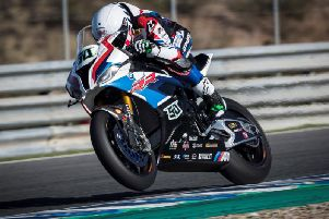 Eugene Laverty on the BMW Motorrad S1000RR during the final winter test of 2019 at Jerez in Spain.