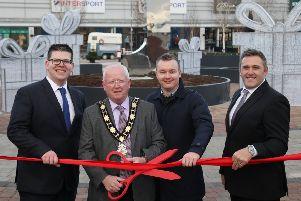 (L-R): Chris Flynn, centre director, The Junction, Alderman John Smyth, the Mayor of Antrim and Newtownabbey, Craig Stewart, senior asset manager, Lotus Property and Alastair Coulson, managing director, Lotus Property