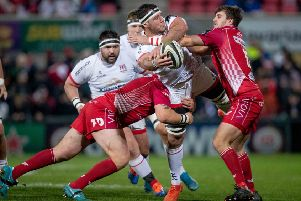 Ulster's Marcell Coetzee helping secure success over Scarlets on Friday. Pic by INPHO.