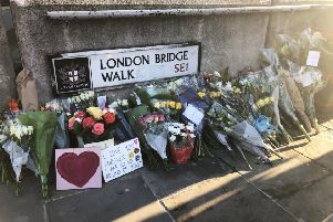 """Flowers left at London Bridge in central London, following the London Bridge terror attack on Friday. """"Religious terrorists are the worst form of any terrorism""""''Photo: Tess De La Mare/PA Wire"""