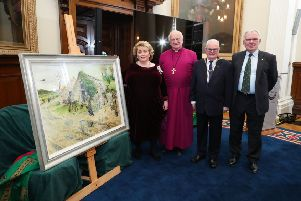 Unveiling of The Search at Belfast City Hall (L-R) Her Majesty's Lord Lieutenant Fionnuala Jay-O'Boyle, CBE, Rt Rev Lord Eames, Alderman Tommy Sandford and UDR Benevolent Fund trustee Charles Bennett
