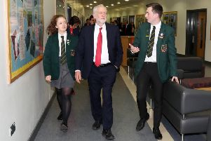 Jeremy Corbyn at  Lagan Colleage last year ' but school hustings events are now banned