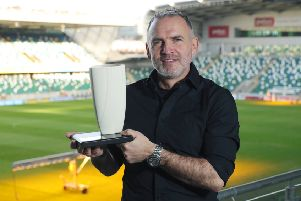 Glentoran head coach Mick McDermott with his Northern Ireland Football Writers' Association 'Manger of the Month' prize. Pic by PressEye Ltd.