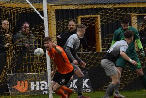 Carrick Rangers' Daniel Kelly celebrates giving his side an early lead against Institute.