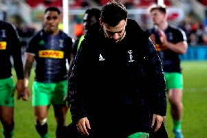 A dejected Danny Care leaves the pitch after Harlequins' narrow loss to Ulster in Belfast