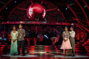 BBC handout photo of Chris Ramsay and Karen Hauer with Karim Zeroual and Amy Dowden wait to hear their fate after the dance off