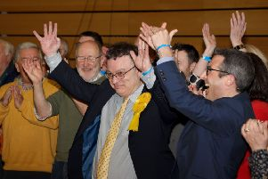 Celebrations for the Alliance team after Stephen Farry was elected as the new MP for North Down. 'Photo Laura Davison/Pacemaker Press